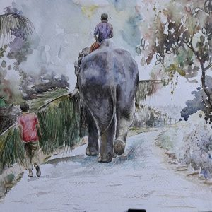 Online, Art, Art Gallery, Online Art Galley, Sri Lanka, Karunagama, Watercolor, Water Colour, Sri lanka Elephants, Elephant paintings, Sri lanka paintings,