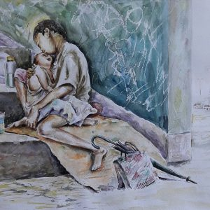 Online, Art, Art Gallery, Online Art Galley, Sri Lanka, Karunagama, Watercolor, Water Colour, Baby Sitting, Portrait, Landscape, Babysitter, People, Sri lanka paintings,