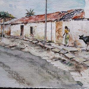 Online, Art, Art Gallery, Online Art Galley, Sri Lanka, Karunagama, Watercolor, Water Colour, Sri lanka villages, Village paintings, Sri lanka landscapes, Sri lanka paintings,