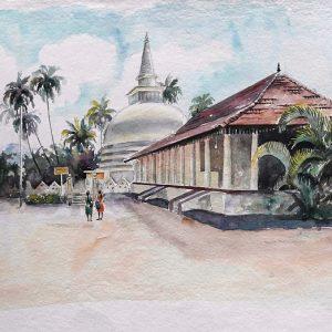 Online, Art, Art Gallery, Online Art Galley, Sri Lanka, Karunagama, Watercolor, Water Colour, Temples In Sri Lanka, Muthiyangana, Sri lanka paintings,