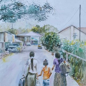 Online, Art, Art Gallery, Online Art Galley, Sri Lanka, Karunagama, Watercolor, Water Colour, Landscape, People, Girls, Girls in Sri Lanka, Landscapes, Paintings of Sri lankan Girls, Landscapes, Sri lankan Landscapes, Sri lanka paintings,