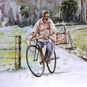 Online, Art, Art Gallery, Online Art Galley, Sri Lanka, Karunagama, Watercolor, Water Colour, People, Fish, Fish Seller, Bike, Fish Sellers, Sri lanka Fish, Fish Seller paintings, Fish trade, Sri lanka paintings,