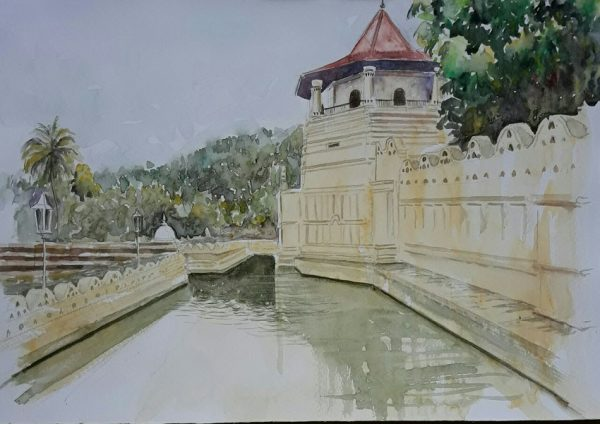 Online, Art, Art Gallery, Online Art Galley, Sri Lanka, Karunagama, Watercolor, Water Colour, Kandy Place, Dalada Maligawa, Sri lanka paintings,