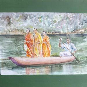 Online, Art, Art Gallery, Online Art Galley, Sri Lanka, Karunagama, Watercolor, Water Colour, Old Monk, Sri lanka Monk, Buddhist monk, Monk Paintings, People, Sri lanka People, Sri lanka paintings,