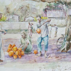 Online, Art, Art Gallery, Online Art Galley, Sri Lanka, Karunagama, Watercolor, Water Colour, Sri lankan People, People, People paintings, King Coconut , Sri lanka King coconut, King coconut paintings, Sri lanka paintings,