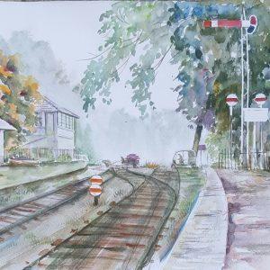 Online, Art, Art Gallery, Online Art Gallery, Sri Lanka, Karunagama, Watercolor, Water Colour, Sarath Karunagama, Bandarawela, Railways station, Railways, Paintings of Bandarawela, Stations-paintings, Sri lanka paintings,