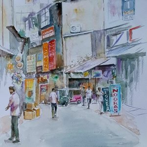 Kandy street paintings, Kandy city, Online, Art, Art Gallery, Online Art Galley, Sri Lanka, Karunagama, Watercolor, Water Colour, Cross Street, Kandy Paintings, Fancy goods, Sri lanka paintings,