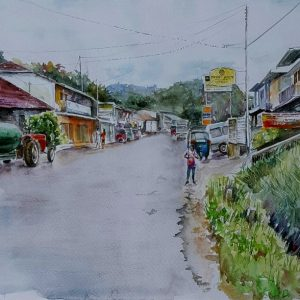 Online, Art, Art Gallery, Online Art Galley, Sri Lanka, Karunagama, Watercolor, Water Colour, Street View, Streets in Sri lanka, Sri lanka paintings,