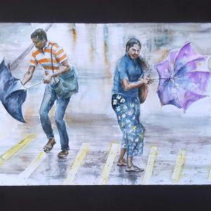 Online, Art, Art Gallery, Online Art Galley, Sri Lanka, Karunagama, Watercolor, Water Colour, Wind, Wind in Sri Lanka, Umbrella, Paintings of Umbrellas, People in Sri lanka, Water Colors, Paintings, Sri Lanka, Online Arts, Art Gallery, Sarath Karunagama, Online Art Gallery, Portrait, Landscape, Umbrella, Wind, Storm, Sri lanka paintings,