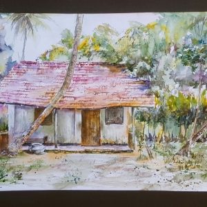 Online, Art, Art Gallery, Online Art Galley, Sri Lanka, Karunagama, Watercolor, Water Colour, Old huts, Hut paintings, Paintings, Sri Lanka, Online Arts, Art Gallery, Sarath Karunagama, , Landscape,, Sri lanka paintings,