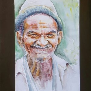 Online, Art, Art Gallery, Online Art Galley, Sri Lanka, Karunagama, Watercolor, Water Colour, Old man, Smile, Old man Paintings, Sri lankan old man, People, Sri lanka paintings,