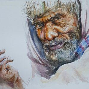 Online, Art, Art Gallery, Online Art Gallery, Sri Lanka, Karunagama, Watercolor, Water Colour, Old People, Old People Paintings, Watercolor Portraits, Portrait Paintings, Sri lanka paintings,