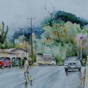 Online, Art, Art Gallery, Online Art Gallery, Sri Lanka, Karunagama, Watercolor, Water Colour, Sarath Karunagama, Hunnasgiriya, Wind in Sri Lanka, Sri lanka paintings,