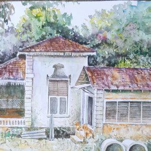 Online, Art, Art Gallery, Online Art Gallery, Sri Lanka, Karunagama, Watercolor, Water Colour,Watercolor paintngs , Abandoned homes, Kandy, Sri lanka paintings,