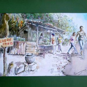 Online, Art, Art Gallery, Online Art Galley, Sri Lanka, Karunagama, Watercolor, Water Colour, Sri lankan Landscape, Herbal drink,Landscape, Sri Lanka, Sri lanka paintings,