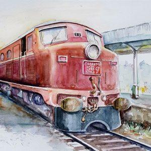 Online, Art, Art Gallery, Online Art Galley, Sri Lanka, Karunagama, Watercolor, Water Colour, Class M1, Sri lanka trains, Locomotives, Locomotive paintings, Diesel locomotives, Diesel locomoitve paintins, Trains paintins, Sri lanka paintings,