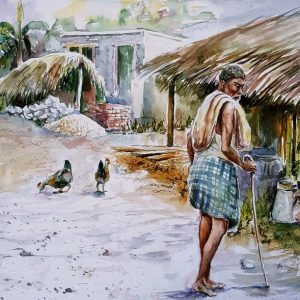 Online, Art, Art Gallery, Online Art Galley, Sri Lanka, Karunagama, Watercolor, Water Colour, Watchman, Old man, Old man paintings, Villages, Sri lankan Villages, Sri lanka paintings,