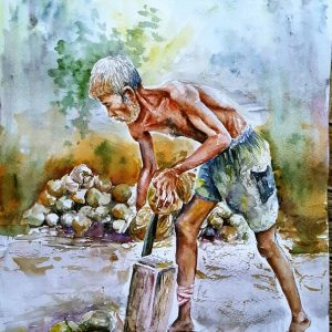 Online, Art, Art Gallery, Online Art Galley, Sri Lanka, Karunagama, Watercolor, Water Colour, Dehusking coconut, Sri lanka coconut cultivation, Paintings of Coconut husk, Sri lanka paintings,