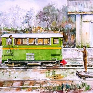 Online, Art, Art Gallery, Online Art Galley, Sri Lanka, Karunagama, Watercolor, Water Colour, Railways, Srilanka railways, Workers trolley, Vehicles, Paintings of vehicles, Paintings of trolleys, Sri lanka paintings,