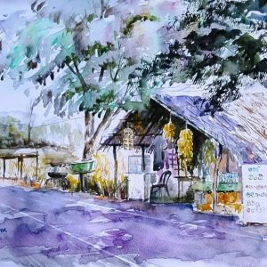 Online, Art, Art Gallery, Online Art Galley, Sri Lanka, Karunagama, Watercolor, Water Colour, Tea stalls, Sri lanka roads, Sri lanka tea stalls, Sri lanka landscapes, landscape paintings, Sri lanka Villages, Sri lanka paintings,