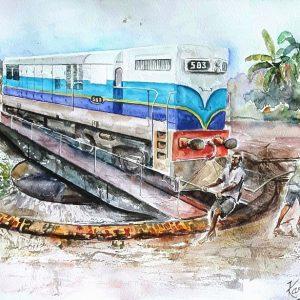 Online, Art, Art Gallery, Online Art Gallery, Sri Lanka, Karunagama, Watercolor, Water Colour,Watercolor paintngs , Kandy, Sri Lanka Railways, Sri lanka paintings,