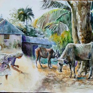Online, Art, Art Gallery, Online Art Galley, Sri Lanka, Karunagama, Watercolor, Water Colour, cattle paintings, village paintings, Village, Animals, Dust paintings, Village paintings, Remote villages, Sri lanka Villages, , Sri lanka paintings,