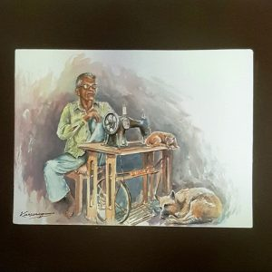 Online, Art, Art Gallery, Online Art Galley, Sri Lanka, Karunagama, Watercolor, Water Colour, People, People paingings, tailors , Sewing machine, Sri lanka paintings,