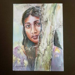 Online, Art, Art Gallery, Online Art Galley, Sri Lanka, Karunagama, Watercolor, Water Colour, People, Gril portraits, Girl watercolor, Sri lanka girl portraits, Sri lanka watercolor portraits, Sri lanka paintings,
