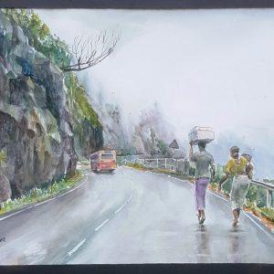 Art, Art Gallery,, Karunagama, Online, Online Art Gallery, Sarath Karunagama, Water Colour, Watercolor, Ramboda, Ramboda pass, Wind in Sri Lanka,Landscape, Landscape watercolor, Sri lanka highways, Sri lankan roads, Landscape painting,Sri Lanka, Sri lanka Paintings,