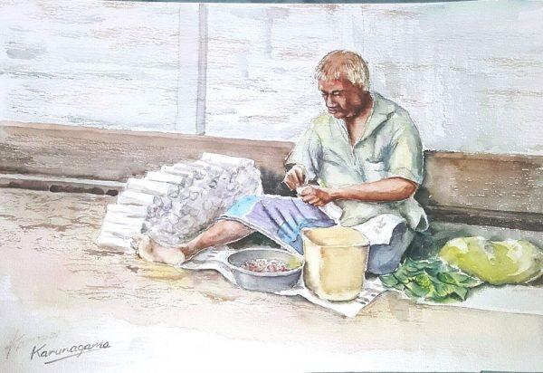 Art, Art Gallery, Indian old man paintings, Karunagama, Old man Paintings, Online, Online Art Galley, People, Sri Lanka, Sri lanka Old People, Sri lanka Paintings, Sri lankan Portraits. Sri lanka watercolor paintings, Water Colour, Watercolor