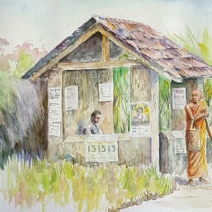 Online, Art, Art Gallery, Online Art Galley, Sri Lanka, Karunagama, Watercolor, Water Colour, Bus halt , Byddgust monk, Bus halt paintings, Sri lanka transport, Sri lanka paintings.