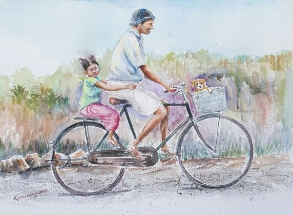 Art, Art Gallery, Karunagama, Online, Online Art Galley, People, Sri Lanka, Sri lanka Paintings, Sri lanka People, Water Colour, Watercolor, Father and daughter, Daughter and pet, Bike ride, Bike paintings, Father and daughter paintings,