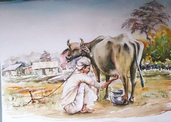 Online, Art, Art Gallery, Online Art Galley, Sri Lanka, Karunagama, Watercolor, Water Colour,Sri lankan cows, Sri lanka people, Sri lanka paintings