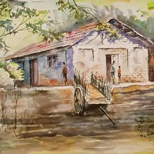 Online, Art, Art Gallery, Online Art Galley, Sri Lanka, Karunagama, Watercolor, Water Colour, Clay houses, Paintings of houses, Houses in villages, Village paintings.