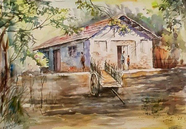 Online, Art, Art Gallery, Online Art Galley, Sri Lanka, Karunagama, Watercolor, Water Colour, Clay houses, Paintings of houses, Houses in villages, Village paintings.