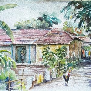 Online, Art, Art Gallery, Online Art Galley, Sri Lanka, Karunagama, Watercolor, Water Colour, Villages, Indian Village, Paintings of Villages, Village houses,