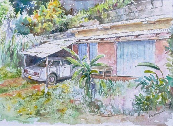 Online, Art, Art Gallery, Online Art Galley, Sri Lanka, Karunagama, Watercolor, Water Colour, cars, Car paintings, Classic car paintings, Sri lankan old cars, Abandoned cars,