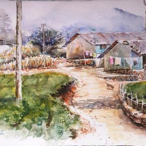 Online, Art, Art Gallery, Online Art Galley, Sri Lanka, Karunagama, Watercolor, Water Colour, Sri lanka tea industry, Tea estates, Labor lines,