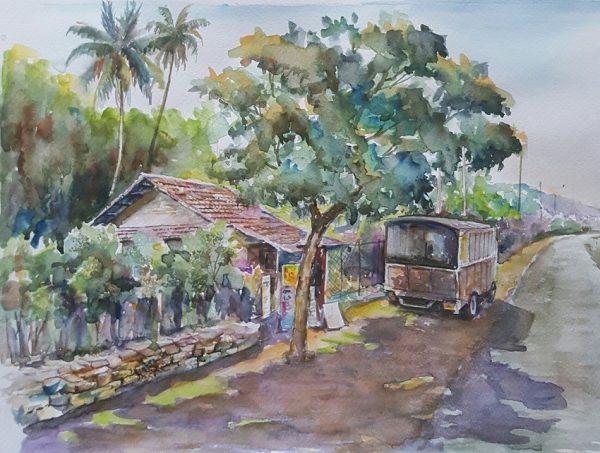 Online, Art, Art Gallery, Online Art Galley, Sri Lanka, Karunagama, Watercolor, Water Colour, Sri lanka shops, Sri lanka vehicles, Sri lankan roads, Landscapes,