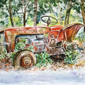 Online, Art, Art Gallery, Online Art Galley, Sri Lanka, Karunagama, Watercolor, Water Colour, Tractoer wreck, Tractors, Old tractors, Lindula, Thalawakele, Hill country, Tea plantations,