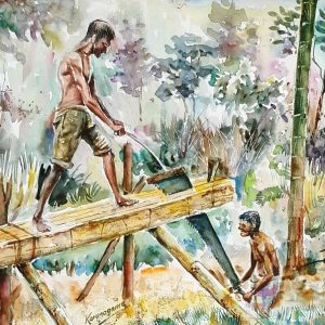 Online, Art, Art Gallery, Online Art Galley, Sri Lanka, Karunagama, Watercolor, Water Colour, People Sri lanka, Landscape, History in Sri lanka, Sawing timeber, Cutting Timber, Cutting wood, Sri lankan timber,