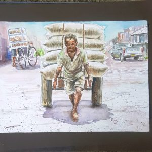 Online, Art, Art Gallery, Online Art Galley, Sri Lanka, Karunagama, Watercolor, Water Colour, Pettah, Colombo workers, Workers paintings, Sri lankan workers, Carts, Carts in transportation, Transportation,
