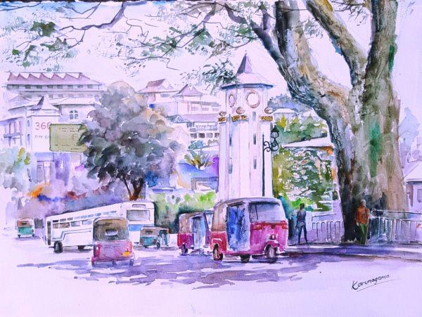 Online, Art, Art Gallery, Online Art Galley, Sri Lanka, Karunagama, Watercolor, Water Colour, Kandy, Colombo street, Landscape, Kandy City Center, Ismail clock tower, Kandy paintings, Kandy City paintings, Kandy town,