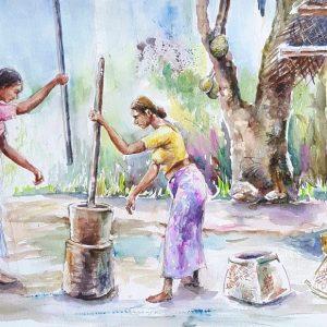 Online, Art, Art Gallery, Online Art Galley, Sri Lanka, Karunagama, Watercolor, Water Colour, People, Sri lankan people, Mortar and pestle, Old mortar and pestle.