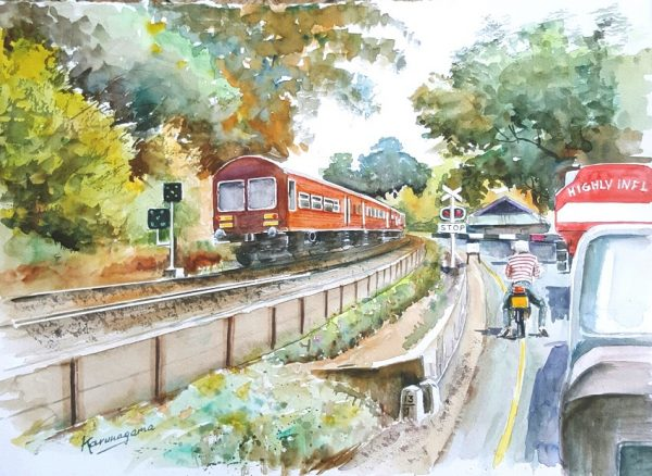 Online, Art, Art Gallery, Online Art Galley, Sri Lanka, Karunagama, Watercolor, Water Colour, Railway crossing, Level crossing, Yangalmodara, Alawwa