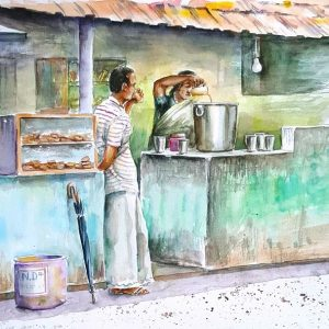 Online, Art, Art Gallery, Online Art Galley, Sri Lanka, Karunagama, Watercolor, Water Colour, Simple tea store, Roadside hotel,