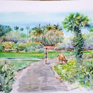 Online, Art, Art Gallery, Online Art Galley, Sri Lanka, Karunagama, Watercolor, Water Colour, Waddukoddai, Jaffna, Jaffna peninsula, Jaffna painatings, Jaffna paddy fields, Jaffna palmayrh,