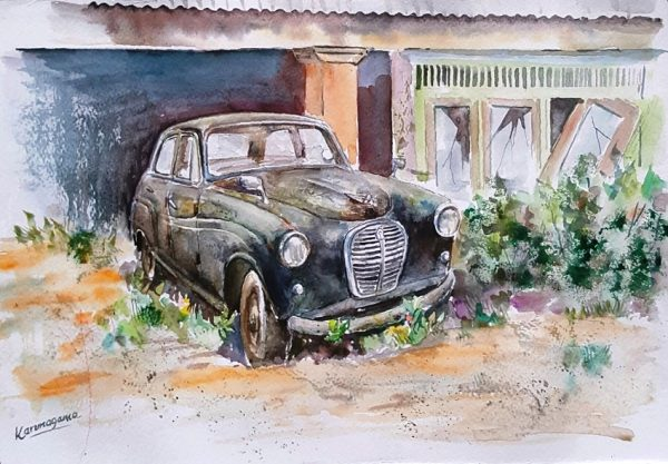 Online, Art, Art Gallery, Online Art Galley, Sri Lanka, Karunagama, Watercolor, Water Colour, Austin, Baby Austin, Sri lanka Austin, Austin A30, Classic Austin, Sri lanka Classic cars, Classic car paintings,