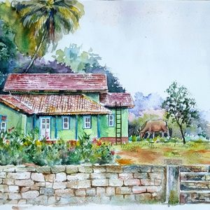 Online, Art, Art Gallery, Online Art Galley, Sri Lanka, Karunagama, Watercolor, Water Colour, Houses, Sri Lankan Houses, Villa, Sri Lankan villas, Kalthota, Kalthota paintings.