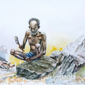 Online, Art, Art Gallery, Online Art Galley, Sri Lanka, Karunagama, Watercolor, Water Colour, Hammerin stones, matal industry, stone crushing,